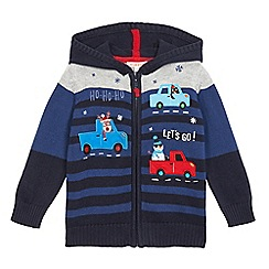 bluezoo - Boys' navy applique christmas knitted cardigan