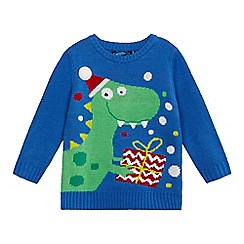 bluezoo - Boys' blue Christmas dinosaur knit light up jumper
