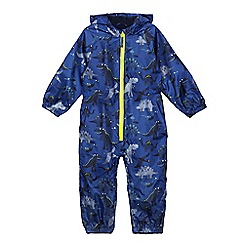 bluezoo - Boys' blue dinosaur print waterproof puddlesuit