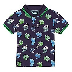bluezoo - Boys' navy dinosaur print polo shirt