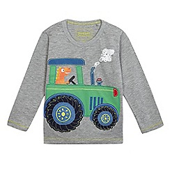 bluezoo - Boys' grey tractor long sleeve t-shirt
