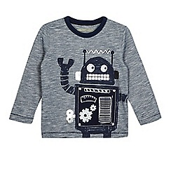 bluezoo - Boys' navy fine striped print robot applique top