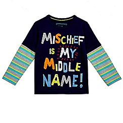 bluezoo - Boy's 'Mischief' slogan applique t-shirt
