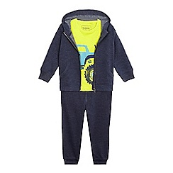 bluezoo - Boys' navy zip through hoodie, jogging bottoms and yellow car print t-shirt set