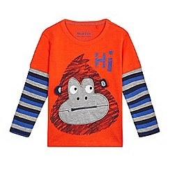 bluezoo - Boys' red gorilla print mock long sleeved top