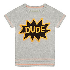 bluezoo - Boys' grey 'Dude' textured applique t-shirt