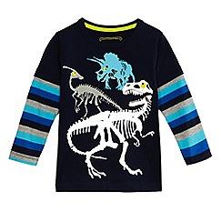 bluezoo - Boys' navy dinosaur skeleton print top