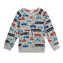 bluezoo - Boys' grey transport print Christmas sweater