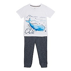 J by Jasper Conran - Boy's white whale applique t-shirt and navy jogging bottoms set