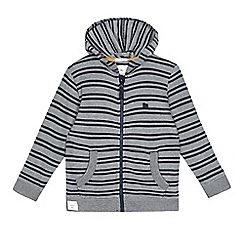 J by Jasper Conran - Navy textured stripe zip through hoodie