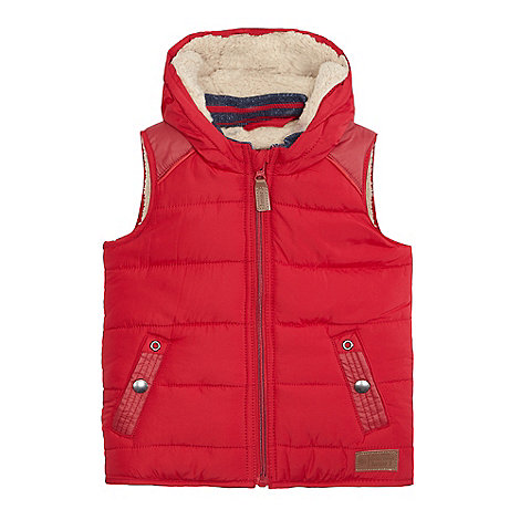 Boys' red sherpa lined hooded gilet