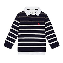 J by Jasper Conran - Boys' navy striped print mock sweater