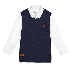 J by Jasper Conran - Boys' navy shirt and tank top set