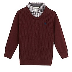 J by Jasper Conran - Boys' dark red knitted mock jumper
