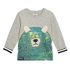 Mantaray - Boys' grey crew neck bear sweatshirt