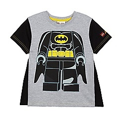 Batman - Boys' black and grey 'LEGO Batman' flocked t-shirt with a cape