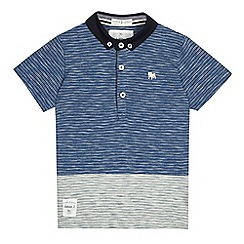 J by Jasper Conran - Mid blue textured striped polo shirt