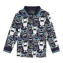 bluezoo - Boys' navy yeti print polo shirt