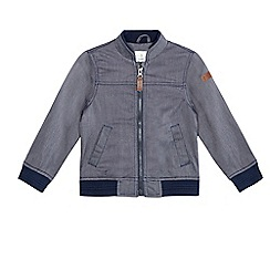 J by Jasper Conran - Boys' navy textured chambray Harrington jacket