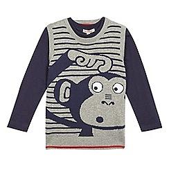 bluezoo - Boys' grey monkey knit t-shirt and sweater set