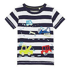 bluezoo - Boys' blue striped applique transport t-shirt