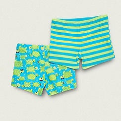 bluezoo - Boy's pack of two lime striped and turtle patterned trunks