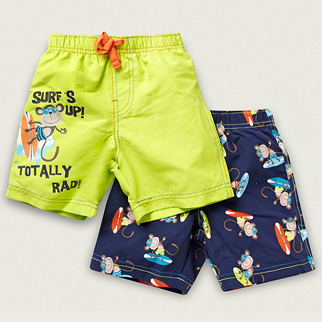 bluezoo - Boy+s pack of two lime and navy surfer monkey swim shorts