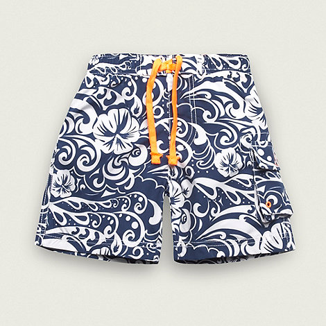 bluezoo - Boy+s navy hibiscus flower swim shorts