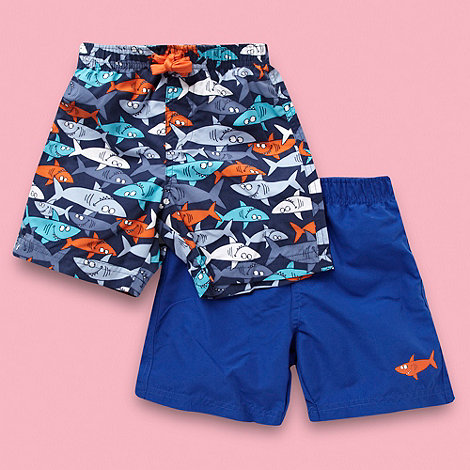 bluezoo - Boy+s pack of two blue and navy shark swim shorts