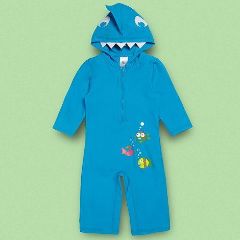 bluezoo - Boy+s blue hooded sunsafe swimsuit