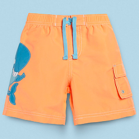 bluezoo - Boy+s orange applique whale swim shorts