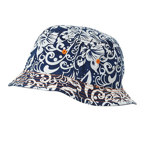 bluezoo - Boy+s dark blue wave patterned reversible bucket sun hat