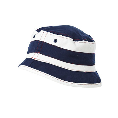 bluezoo - Boy+s navy nautical striped bucket hat