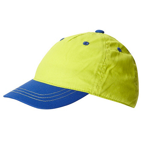 bluezoo - Boy+s lime green contrasting peaked baseball cap