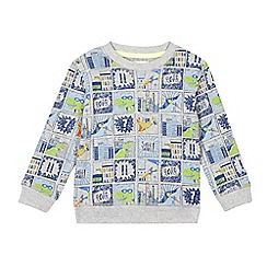 bluezoo - Boys' grey dinosaur comic strip print jumper