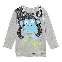 bluezoo - Boys' grey monkey appliqu  top