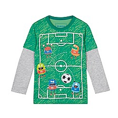bluezoo - Boys' green long sleeve football pitch t-shirt