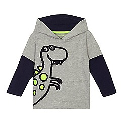 bluezoo - Boys' navy dinosaur applique mock sleeve sweater