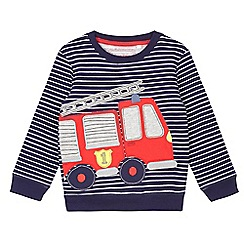 bluezoo - Boys' navy striped print firetruck applique sweat
