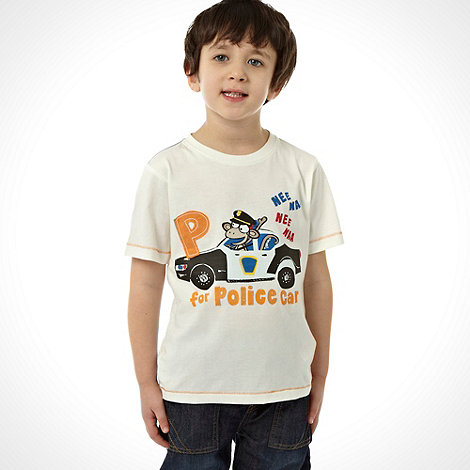 bluezoo - Boy+s white monkey police printed t-shirt