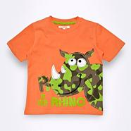 Boy's orange rhino t-shirt
