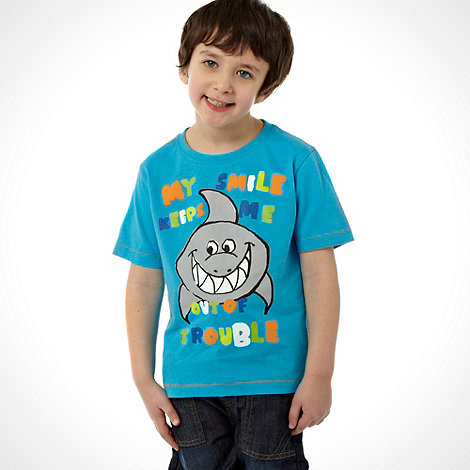 bluezoo - Boy+s blue shark printed t-shirt