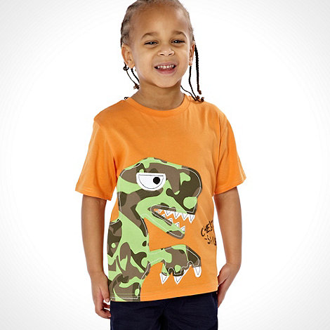 bluezoo - Boy+s orange +CHEEKY-SAURUS+ t-shirt