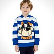 Boy's blue hooded pirate print striped sweater