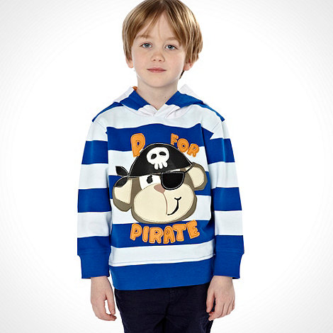 bluezoo - Boy+s blue hooded pirate print striped sweater