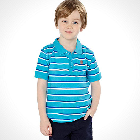 bluezoo - Boy+s blue short sleeved striped polo top