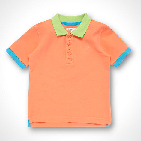 bluezoo - Boy+s orange contrasting trimmed polo shirt