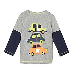 bluezoo - Boys' grey applique car mock sleeve t-shirt