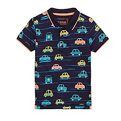 bluezoo - Boys' navy car print polo shirt