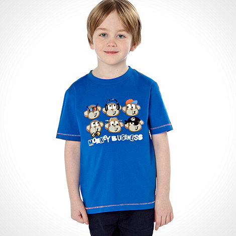bluezoo - Boy+s pack of two blue monkey printed tees